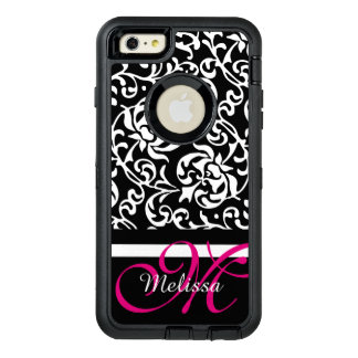 Pink and White Tudor Damask Name and Monogram OtterBox Defender iPhone Case