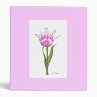 Pink and White Tulip 3 Ring Binder