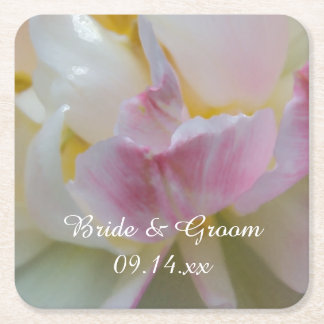 Pink and White Tulip Flower Spring Wedding Square Paper Coaster