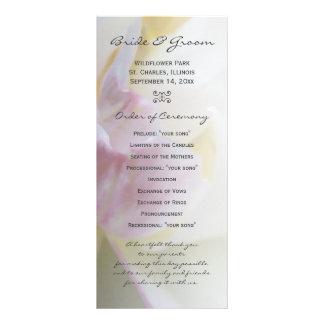 Pink and White Tulip Flower Wedding Program