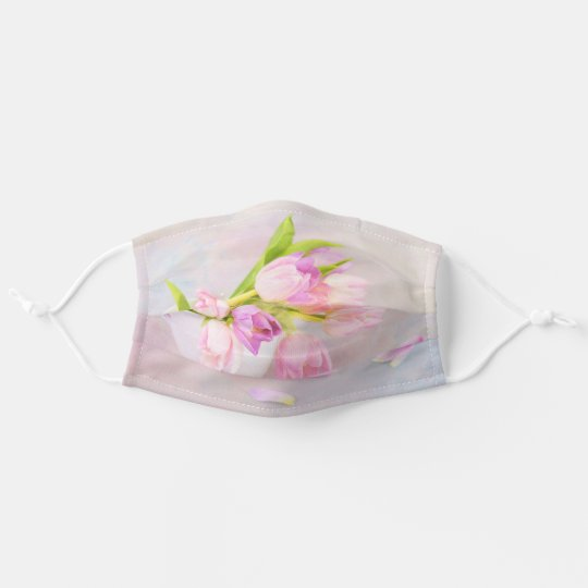 Pink And White Tulips In Tea Cups Cloth Face Mask