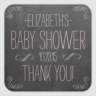 Pink and White Typography Chalkboard Baby Shower Square Sticker