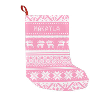 Pink and White Ugly Christmas Sweater - Your name Small Christmas Stocking