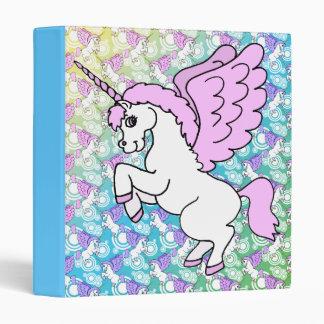 Pink and White Unicorn Graphic 3 Ring Binder
