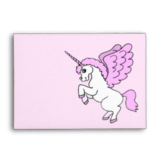 Pink and White Unicorn Graphic Envelope