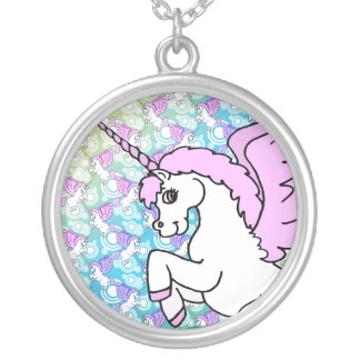 Pink and White Unicorn Graphic Round Pendant Necklace
