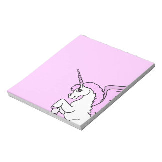 Pink and White Unicorn Graphic Notepad