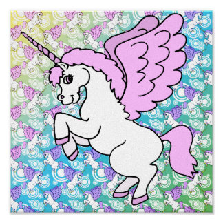Pink and White Unicorn Graphic Poster