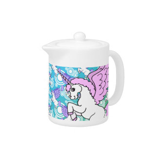 Pink and White Unicorn Graphic Teapot
