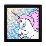 Pink and White Unicorn Graphic Trinket Box