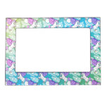 Pink and White Unicorn Pattern Design Magnetic Photo Frames