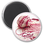 Pink and White Variegated Knitter Refrigerator Magnets