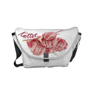 Pink and White Variegated Knitter Small Messenger Bag