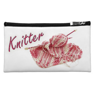 """Pink and White Variegated """"Knitter"""" Photo Cosmetic Bags"""