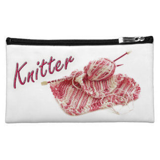 """Pink and White Variegated """"Knitter"""" Photo Cosmetic Bag"""