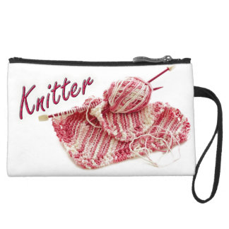 """Pink and White Variegated """"Knitter"""" Photo Wristlet Purses"""