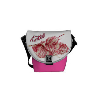 """Pink and White Variegated """"Knitter"""" Photo Courier Bag"""