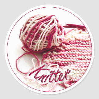 Pink and White Variegated Knitter Sticker