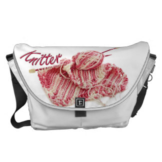 Pink and White Variegated Yarn Knitter Courier Bags