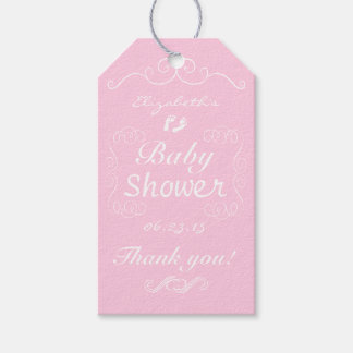 Pink And White Vintage Baby Shower Gift Tags