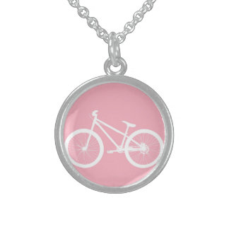 Pink and White Vintage Bicycle Necklace