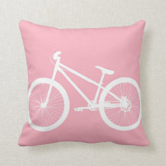 Pink and White Vintage Bicycle Pillow