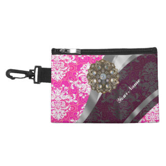Pink and white vintage damask pattern accessory bag