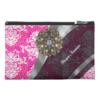 Pink and white vintage damask pattern travel accessory bag