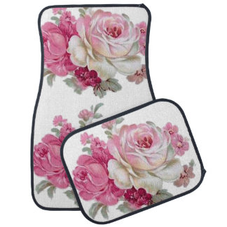 Pink and White Vintage Roses Car Floor Mat