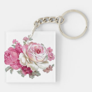 Pink and White Vintage Roses Keychain