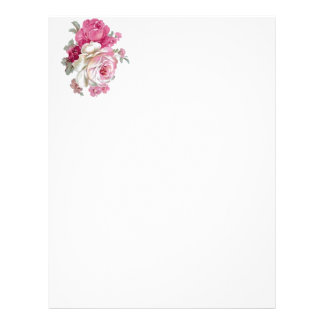 Pink and White Vintage Roses Letterhead