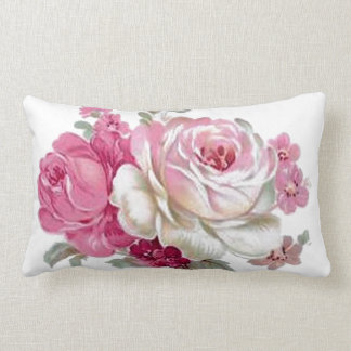 Pink and White Vintage Roses Lumbar Pillow