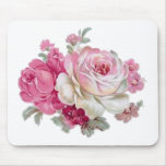 Pink and White Vintage Roses Mouse Pad