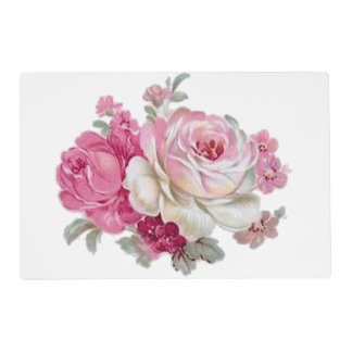 Pink and White Vintage Roses Placemat