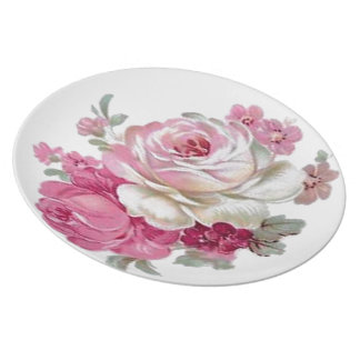 Pink and White Vintage Roses Party Plate