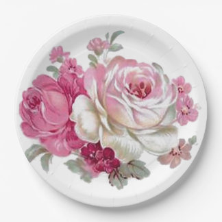 Pink and White Vintage Roses 9 Inch Paper Plate