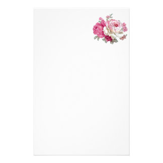 Pink and White Vintage Roses Stationery