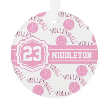 Beach Themed Pink and White Volleyball Design Ornament