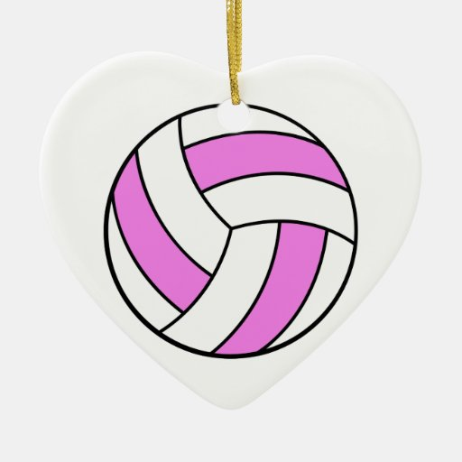 pink and white volleyball Double-Sided heart ceramic christmas ornament