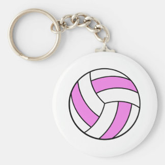 pink and white volleyball key chain