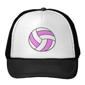 pink and white volleyball trucker hat