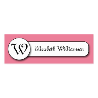 Pink and White w/ Monogram Calling Cards Double-Sided Mini Business Cards (Pack Of 20)