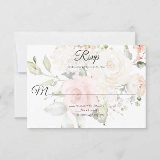 Pink and White Watercolor Floral Wedding | RSVP Card