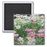 Pink and White Wildflowers 2 Inch Square Magnet