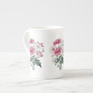 Pink and White Windflower Botanical Bone China Mug