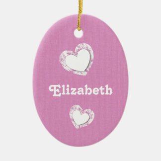 Pink and White with Grunge Hearts and Custom Name Ceramic Ornament