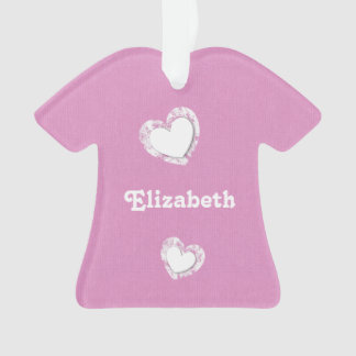 Pink and White with Grunge Hearts and Custom Name Ornament