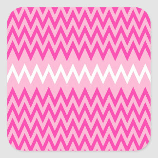 pink and white with pink small zigzags square sticker