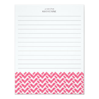 Pink and White Woven Chevron with Name - Lined Card