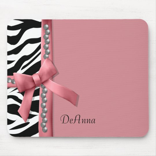 Pink And White Zebra Gems Mouse Pad